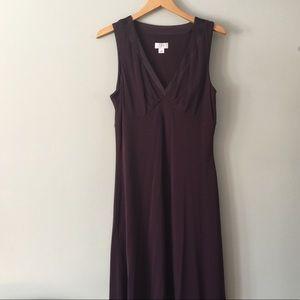 Loft V-Necked Plum Crepe Sheath Dress Size 14